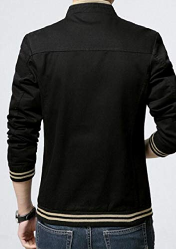 Men's Stand Zipper Black Sleeve Gocgt Collar Full Fit Casual Long Slim Jacket 6fnxOxHdw