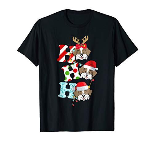 HO HO HO Shih Tzu Dog Reindeer Santa Hat Christmas Tshirt