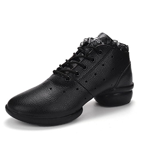 D2c Beauty Womens Lace-up Ademende Sport Dans Sneakers Zwart