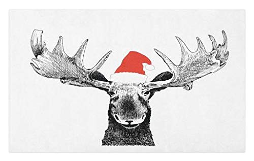 Lunarable Moose Doormat, Funny Christmas Moose with Antlers and Santa Claus Hat Xmas Celebrations Themed Print, Decorative Polyester Floor Mat with Non-Skid Backing, 30 W X 18 L Inches, Grey Red (Xmas Door Mats)