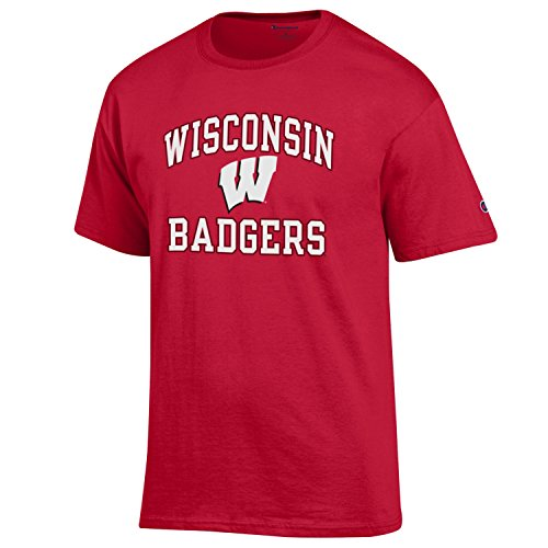 Champion NCAA Men's Shirt Short Sleeve Officially Licensed Team Color Tee, Wisconsin Badgers, - Wisconsin Tee Pack Badgers