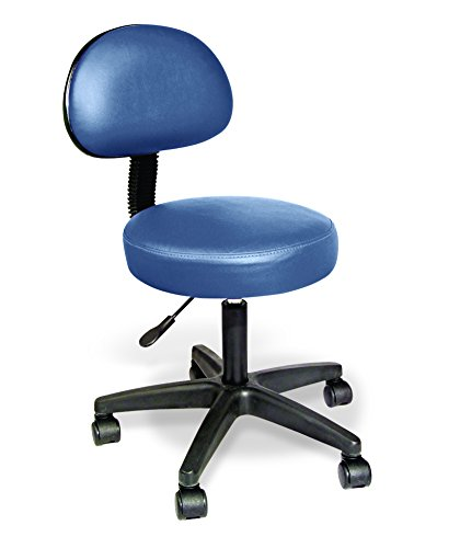 Rolling Stools w/Removable Backrest by NRG – Agate Blue – Massage Stools – Salon & Spa Stools – 3″ Padded Seat w/15″ Diameter – 5 Wheel Base – Working Weight of 350 lbs – Adjustable Height 17″ – 21″