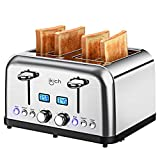 4 Slice Toaster, IKICH Best Rated Prime Toaster Stainless Steel [LCD Countdown] Toasters(6 Bread Shade Settings, Bagel/Defrost/Reheat/Cancel Function, 4 Slots, Removable Crumb Tray, 1500W, Silver)