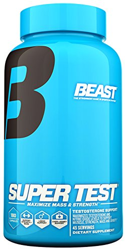 Beast Sports Nutrition Super Test Caps- Fast-Acting Test Booster with KSM-66 Increase Testosterone & Nitric Oxide, Liver & Kidney Support. Build Muscle, Burn Fat, Boost Libido. 45 Servings, 180 Caps