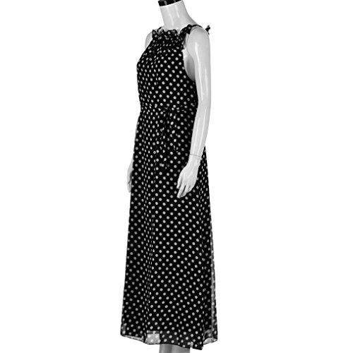Hot Women Dress! AMA(TM) Women Summer Sleeveless Polka Dots Boho Dress Maxi Long Evening Party Dress Beach Sundress (M, Black) by AMA(TM) (Image #3)