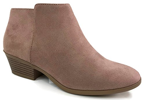 SODA Women's Western Ankle Bootie w Low Chunky Block Stacked Heel D Blush 6.5 B(M) US