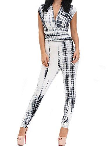 DH-MS Dress Monaco Black White Tie Dye Multi-way Jumpsuit(Size,S) (Abba Fancy Dress Outfits)