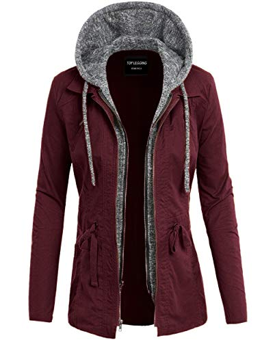 Drawstring Anorak - TOP LEGGING TL Women's Versatile Militray Anorak Parka Hoodie Jackets with Drawstring L22_ Wine L