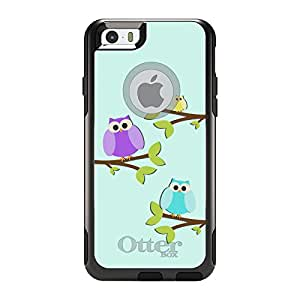 "CUSTOM Black OtterBox Commuter Series Case for Apple iPhone 6 (4.7"" Model) - Blue Purple Yellow Owls"