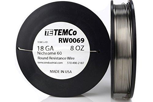 TEMCo Nichrome 60 series wire 18 Gauge 8 oz (111 ft) Resistance AWG ga