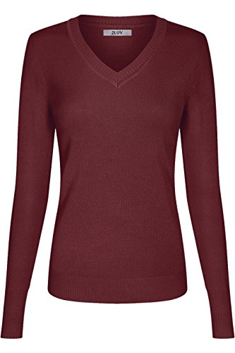 - 2LUV Women's Long Sleeve V Neck Pullover Sweater with Rib Cuffs and Hem Burgundy L
