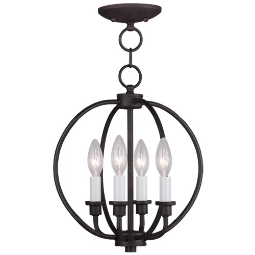- Livex Lighting 4664-07 Milania 4-Light Convertible Hanging Lantern/Ceiling Mount, Bronze