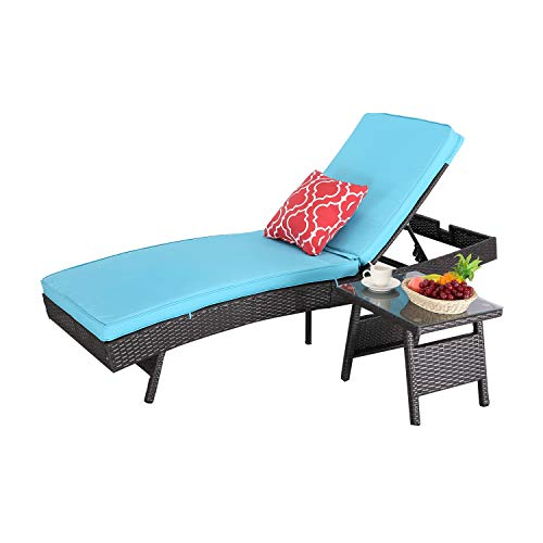HTTH Patio Reclining Chaise Lounge Set, Adjustable Backrest,All-Weather Sun Bed Lounger Furniture Outdoor Garden Chair