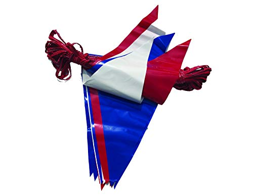 100 ft Triangle Poly Pennant - Double-Stitched - RED, WHTE and Blue