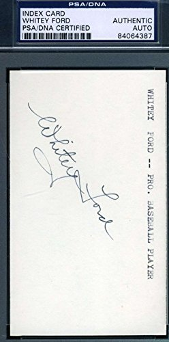 - WHITEY FORD PSA DNA COA Autograph 3x5 Index Card Hand Signed Authentic