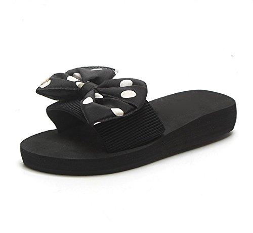 le e Moda slittamento Alla Da trascinare spiaggia Anti scarpe Sandali 40 bianco da bow pantofole di 36 rilasciare 3cm tie AJUNR filtro e Donna e spessore elegante il nero ICqwTIz