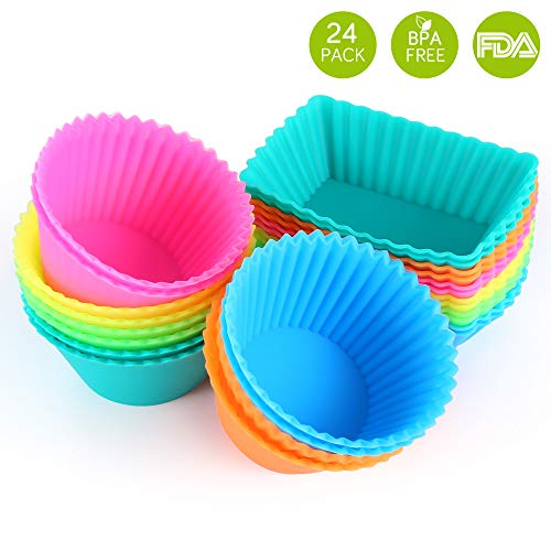 IPOW SC01 Cupcake Baking Cups Reusable Food-Grade BPA Free Silicone Non-Stick Muffin Liners Molds Standard -