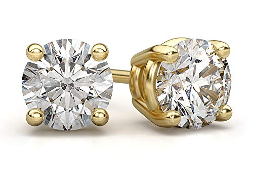 2CaratBasic Must Have Lab Grown Diamond Stud Earrings for Women (Certified H-I Color, VS Clarity) in 14K yellow Gold with Jewelry Gift Box