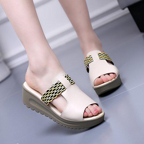 pendiente con Moda 37 Transpirable Sandalias casual grueso zapatillas zapatos Bizcocho 36 AJUNR 5cm elegante de blanco z6fqwnvx