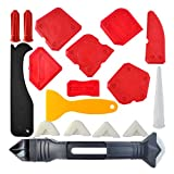 18 Pieces Caulking Tool Kit, Wobe 3 in 1 Caulking Tools Silicone Sealant Finishing Tool Grout Scraper Caulk Remover Caulk Nozzle and Caulk Caps 3 Replaceable Pads for Bathroom Kitchen Sealing (Red)