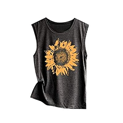 Xinantime Womens Sleeveless Sunflower Print Shirt Casual Loose Tank Top Soft Comfortable Top