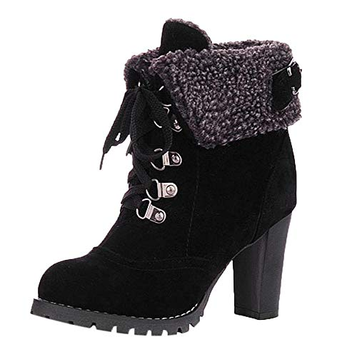 HYIRI New Classic Lace-Up High Thick Short Boots,Women Shoes Leisure Ankle Boots High-Heel Boots Black