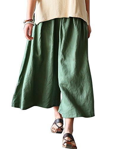 IDEALSANXUN Women's Spring/Summer 100% Linen Wide Leg Retro Pant Skirt Culottes (Grass Green, One (Flat Front Linen Skirt)