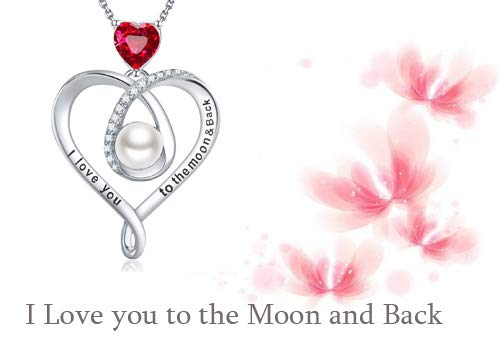 July Birthstone Red Ruby Necklaces Birthday Gifts White Pearl 100 Languages I Love You to The Moon and Back Necklace Women Teen Girls Sterling Silver