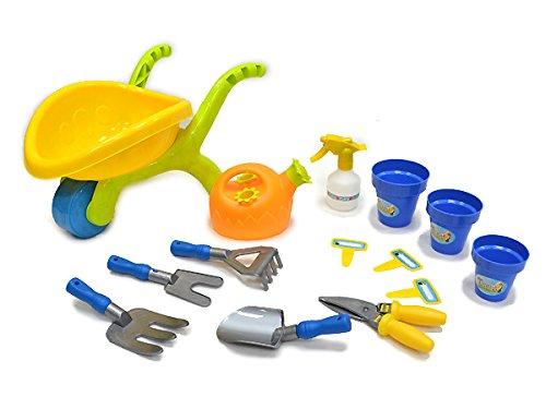 Mini wheelbarrow gardening tools playset for kids 14 for Gardening tools for kids