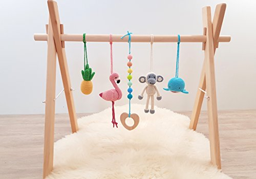 Tropical baby play gym. Flamingo, Pineapple, Monkey, Whale, Tropical rainbow or Palm tree. Activity baby center. Wooden baby gym frame and crochet baby gym toys. Handmade in eastern Europe. (Baby Wooden Gym)