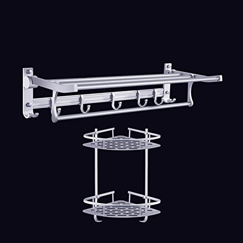 Space aluminum towel rack, bathroom towel rack, bathroom rack, wall hanging bathroom hardware pendant set two sets