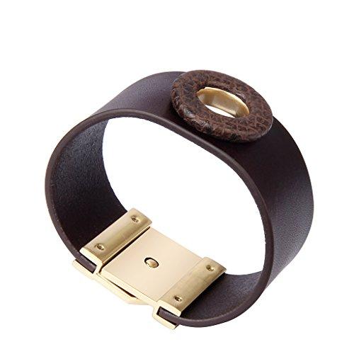 Jenia Women Leather Cuff Bracelet Wide Italian Wristband Wrap Around Bracelet Bohemian Jewelry for Girls, Ladies, Mother, Wife Birthday Gifts by Jenia (Image #1)