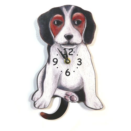 Swinging-Tail Pendulum Dog Wall Clock - -