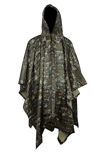 HOW'ON Military Multifunction Realtree Camouflage Waterproof Rain Poncho Adults(Gift Emergency Blanket) Digital Jungle One Size