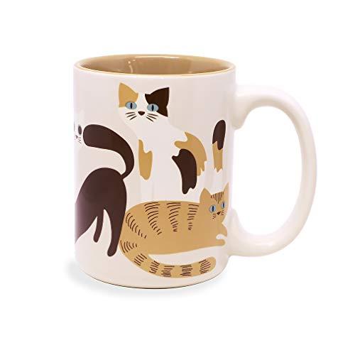 Adorable Cute Cat Natural White 16 ounce Sturdy Glossy Ceramic Coffee Mug