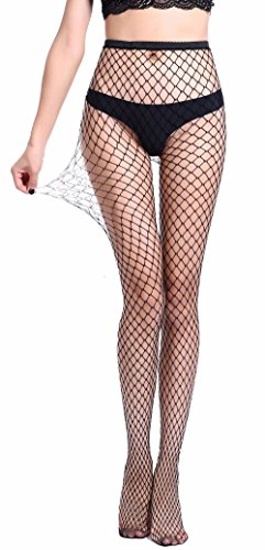 -  Pareberry Women's High Waisted Fishnet Tights Sexy Wide Mesh Fishnet Stockings (Black(Middle Hole))