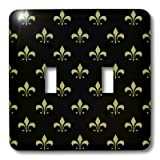 3dRose LLC lsp_22342_2 Gold Fleur De Lis on a Black Background Christian Saints Symbol, Double Toggle Switch