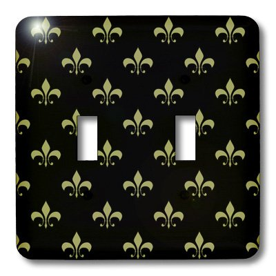 3dRose LLC lsp_22342_2 Gold Fleur De Lis on a Black Background Christian Saints Symbol, Double Toggle Switch