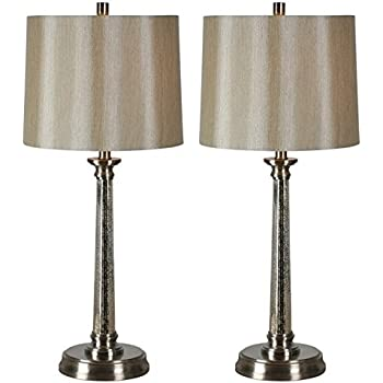 Brooks Table Lamp In Satin Nickel Finish Set Of 2