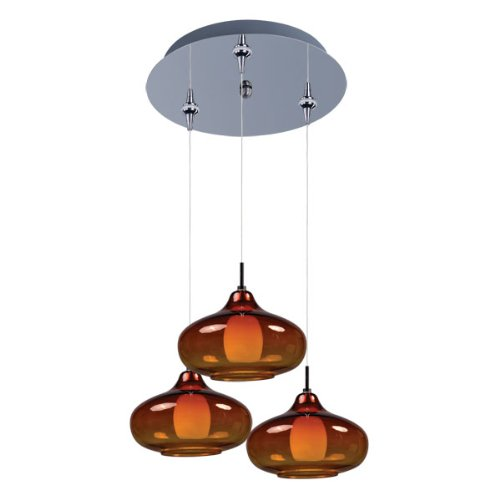 ET2 Lighting E94648-141PC Pendant with Graduating Amber Glass Shades, Polished Chrome Finish (Amber Table Chrome Lamp)