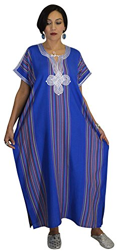 Moroccan Caftan Women Light Weight Linen Handmade with Embroidery Fits Small To Large Cover-up Lounge-wear Ethnic Design Blue