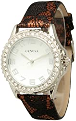 Women's Geneva Classic Lace Watch With Black Lace Band - Brown