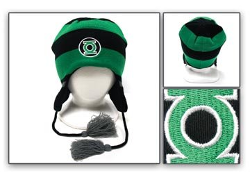 551dde83bf3 Image Unavailable. Image not available for. Color  GREEN LANTERN Logo  Knitted Laplander Beanie ...