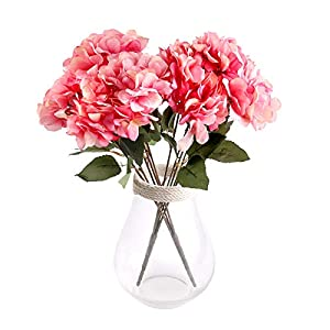 Louiesya Artificial Flowers Silk Hydrangea Flowers with 5 Big Heads Fake Flower Bunch Bouquet for Home Wedding Party Decor DIY 100