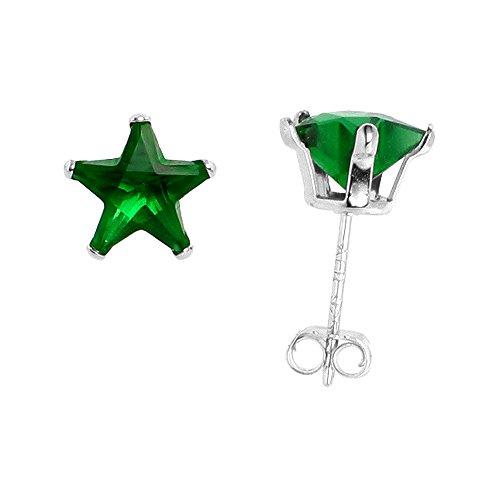 (Sterling Silver Cubic Zirconia Emerald Star Stud Earrings 7 mm Green)