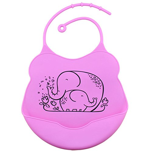 Nikuya Baby Infants Kids Waterproof Silicone Bibs Lunch Bib Premium Cute Comfortable Soft Easily Wipes Clean Keep Stains Off with Large Pocket for Toddlers Water resistant Food Catcher Bibs (Hot Pink)