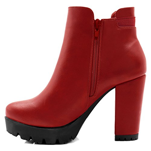 High Chunky Women's K Platform Zipper Boots Chelsea Heel Allegra Red qtAS6