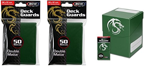 COMBO- BCW GREEN Large Deck Case plus 2x 50ct Pks (100) of GREEN Double Matte Deck Guard Sleeves for Collectable Gaming Cards like Magic The Gathering MTG, Pokemon, YU-GI-OH!, & More. Dragon Graphic on BOX.
