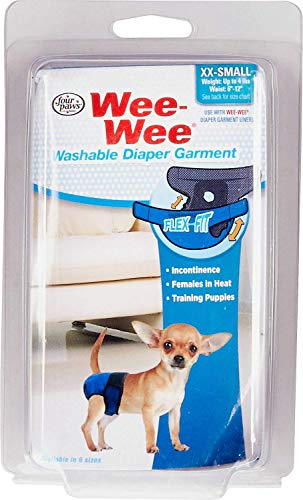 (Four Paws Wee Wee Dog Diaper Garment with Tail-Hole, Washable, XX-Small, 6 Pack)
