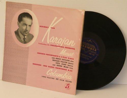 MOZART Sinfonia Concertante in E flat & Serenade- Eine Kleine Nachtmusik, Philharmonia Orchestra, Karajan. UK pressing on Blue and Gold Columbia 33CX 1178.